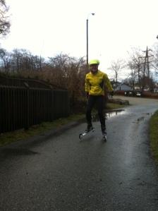 Første treningstur på rulleski