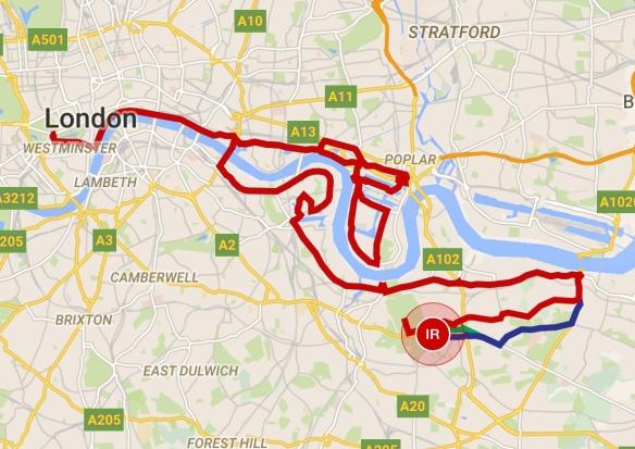 Løype London Marathon 2015