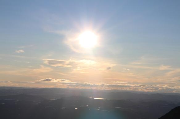 Solnedgang sett fra Gaustatoppen 31. juli